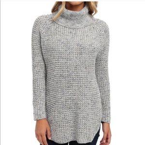 Free people heather blue cowel neck sweater medium